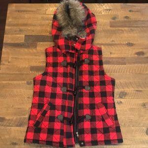 Buffalo plaid, furry-hooded vest!